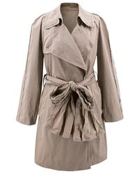 Lanvin - Oyster Grey Trench Coat S - Lyst