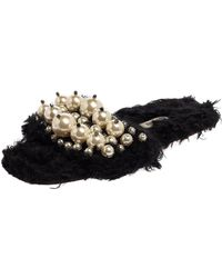 Miu Miu Black Fur Pearl Slide Sandals