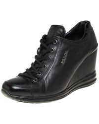Prada Black Leather Wedge Trainers