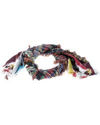 Chanel - Printed Silk Fringed Edged Scarf - Lyst