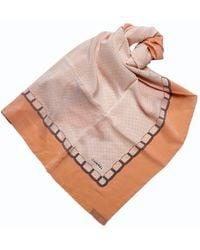 Chanel Two Tone Polka Dot Silk Square Scarf - Natural