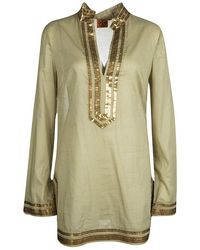 Tory Burch Green Cotton Sequin Embellished Long Sleeve Tunic