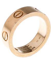 Cartier Love Pink Sapphire 18k Rose Gold Band Ring Size 52 - Metallic