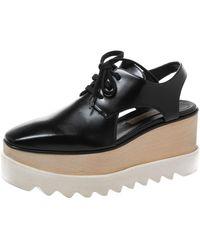 Stella McCartney Black Faux Leather Elyse Cutout Platform Derby