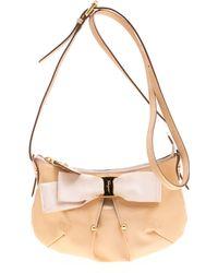 Ferragamo Beige Patent Leather Miss Vara Shoulder Bag - Natural