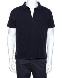 Balenciaga Navy Blue Cotton Pique Polo T Shirt