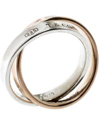 Tiffany & Co. 1837 Interlocking Circles 18k Rose Gold & Silver Ring - Metallic