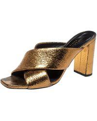Saint Laurent Saint Laurent Metallic Chestnut Super Crack Leather Loulou Slide Sandals