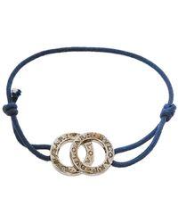BVLGARI Sterling Silver Iconic Double Logo Charm Bracelet - Blue