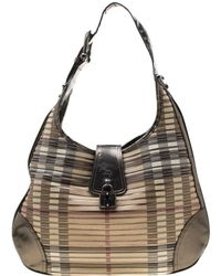 Burberry Olive Green Nova Check Pvc And Patent Leather Brooke Hobo