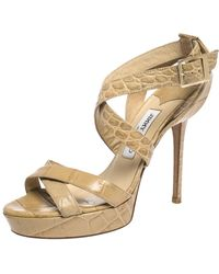 Jimmy Choo Beige Croc Embossed Leather Vamp Platform Sandals - Natural