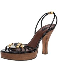 Marc Jacobs Black Patent Leather Studded Ankle Strap Platform Slingback Sandals