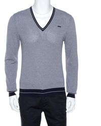 DSquared² Navy Blue Striped Knit Fitted Sweater