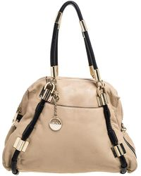 DKNY Beige/black Leather Metal Detail Satchel - Natural