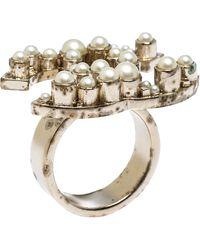 Chanel Pale Gold Tone Faux Pearl Cc Ring Size Eu 55 - Metallic