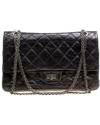 e37df0a59053 Chanel - Black Quilted Leather Reissue 2.55 Classic 227 Flap Bag - Lyst
