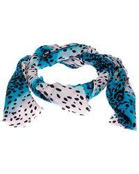 Dior Blue And Pink Leopard Spot Silk Blend Jacquard Scarf