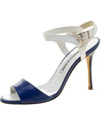 Manolo Blahnik Blue/white Leather Llonicabi Ankle Strap Sandals Size 35.5