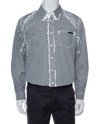 Prada White & Grey Stripe Print Cotton Long Sleeve Shirt