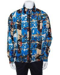 Burberry Blue Graffiti Printed Synthetic Zipper Front Shell Jacket