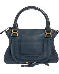 Chloé Blue Leather Medium Marcie Shoulder Bag