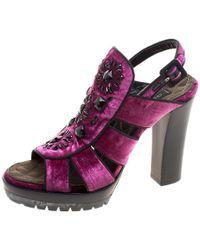 Etro - Velvet Embellished Platform Sandals - Lyst