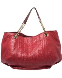 Carolina Herrera Red Monogram Leather Chain Hobo