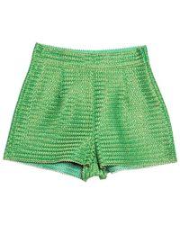 Ermanno Scervino Ermano Scervino Green And Gold Chevron Knit Woven Shorts