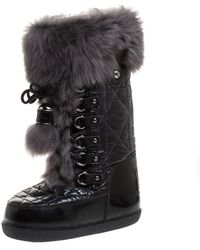 Dior Black/grey Cannage Quilted Fabric, Rubber And Rabbit Fur Lace Up Snow Boots Size 38 - 40