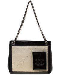 Chanel - Black/off White Pony Hair And Patent Leather Chain Tote - Lyst