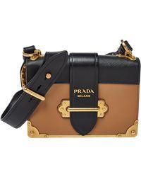 Prada Beige/black Leather Cahier Flap Shoulder Bag - Natural