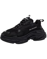Balenciaga Black Leather And Mesh Triple S Low Top Sneakers