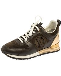 Louis Vuitton Military Green Leather And Suede Run Away Trainers