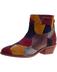 Zadig & Voltaire Multicolour Suede And Leather Patchwork Teddy Ankle Boots