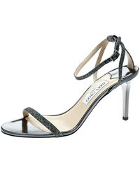 Jimmy Choo Metallic Dark Grey Lamè Fabric Minny Ankle Strap Open Toe Sandals