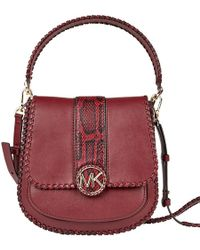 4831cbb18ee6 Michael Kors - Michael Red Snake Embossed And Leather Lillie Leather Top  Handle Bag - Lyst