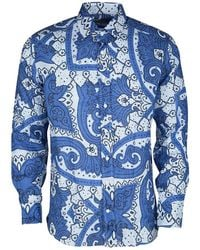 Etro - Blue Paisley Printed Linen Long Sleeve Button Front Shirt M - Lyst