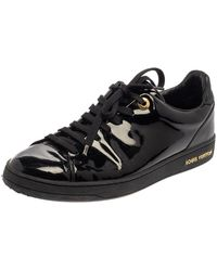 Louis Vuitton Black Patent Leather Low Top Sneakers