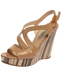 Prada Beige Patent Leather Wooden Wedge Sandals - Natural