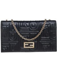 Fendi Black Embossed Logo Leather Wallet On Chain
