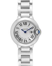 Cartier White Stainless Steel Ballon Blue W69010z4 Women's Wristwatch 29 Mm