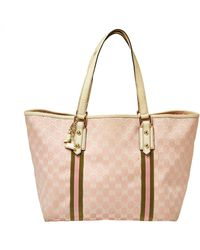 Gucci Pink GG Canvas And Leather Jolicoeur Web Tote