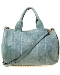 Alexander Wang Light Green Pebbled Leather Rocco Duffel Bag
