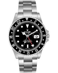 Rolex Black Stainless Steel Gmt Master Ii 16710 Wristwatch 40 Mm