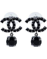 Chanel Cc Black Crystal Silver Tone Drop Earrings