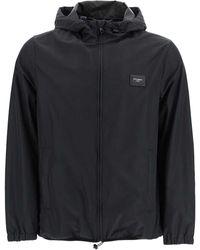 Dolce & Gabbana Black Nylon Hooded Jacket