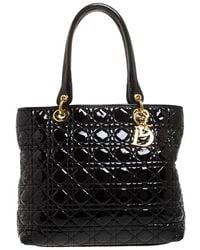 Dior Black Cannage Quilted Patent Leather Medium Soft Lady Tote