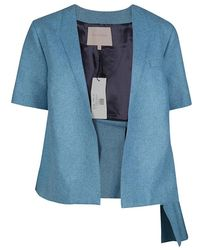 ROKSANDA Powder Blue Felted Wool Asymmetric Delmore Jacket