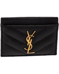 Saint Laurent Saint Laurent Black Matelasse Leather Monogram Card Holder