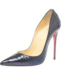 Christian Louboutin Two Tone Python So Kate Pointed Toe Court Shoes - Blue